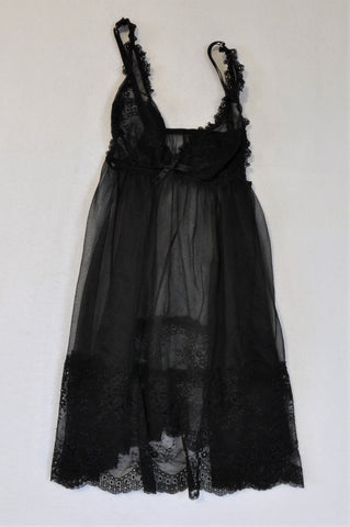 Sissy Boy Black Lace Detail Nighty Women Size 34