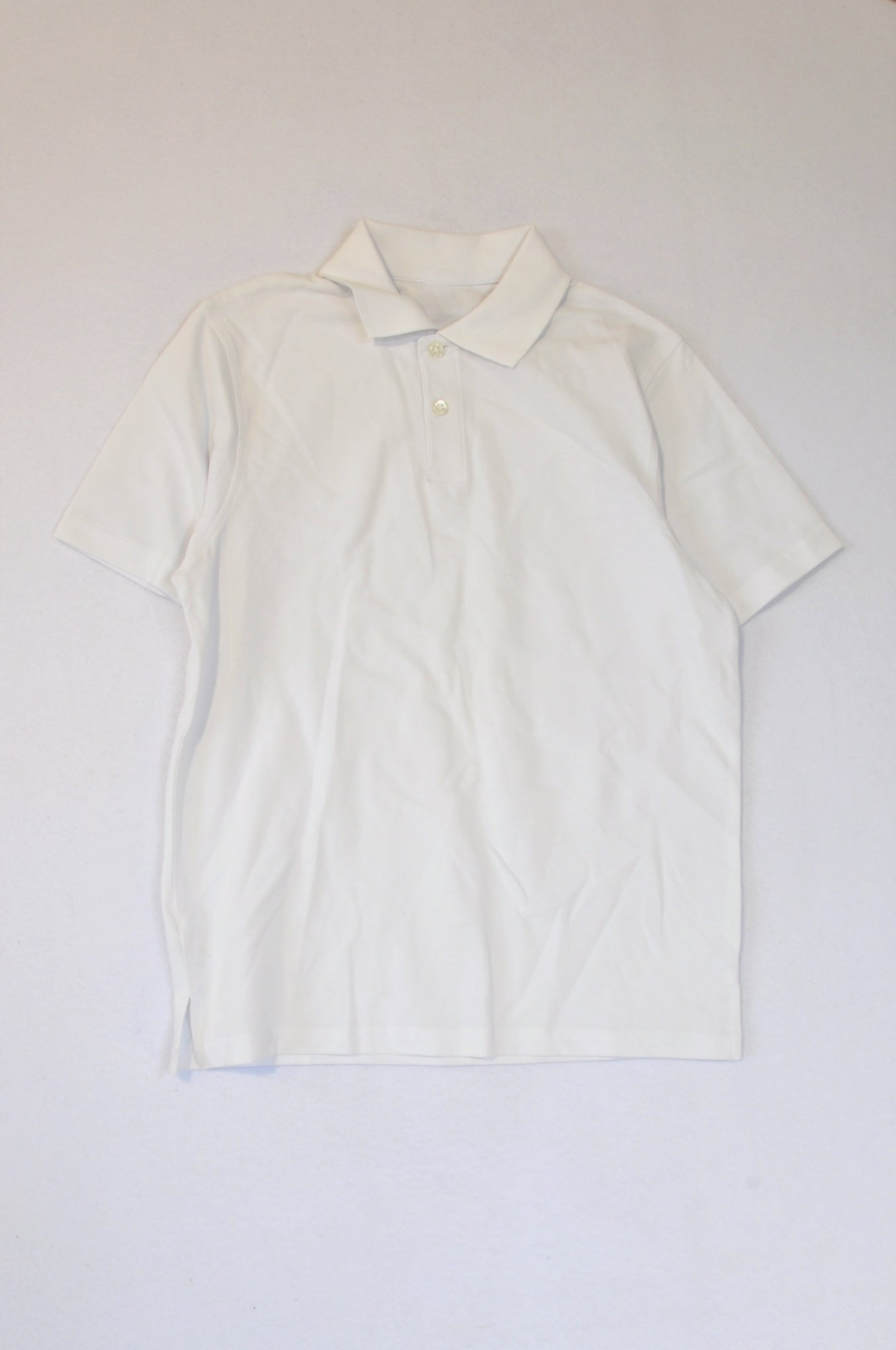 Woolworths White Textured Golf T-shirt Unisex 10-11 years