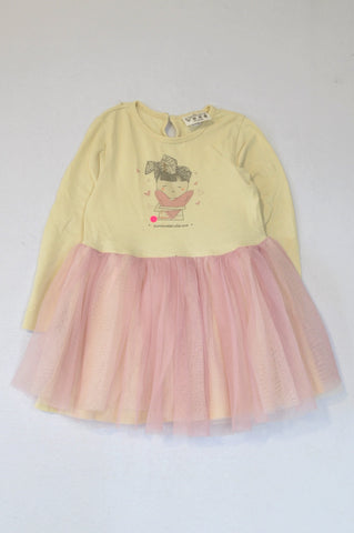Keedo Ivory Long Sleeve Surrounded With Love Purple Tulle Dress Girls 2-3 years