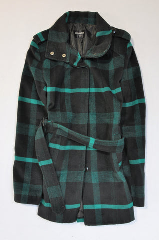 Atmosphere Teal & Black Button Up Tie Coat Women Size 14
