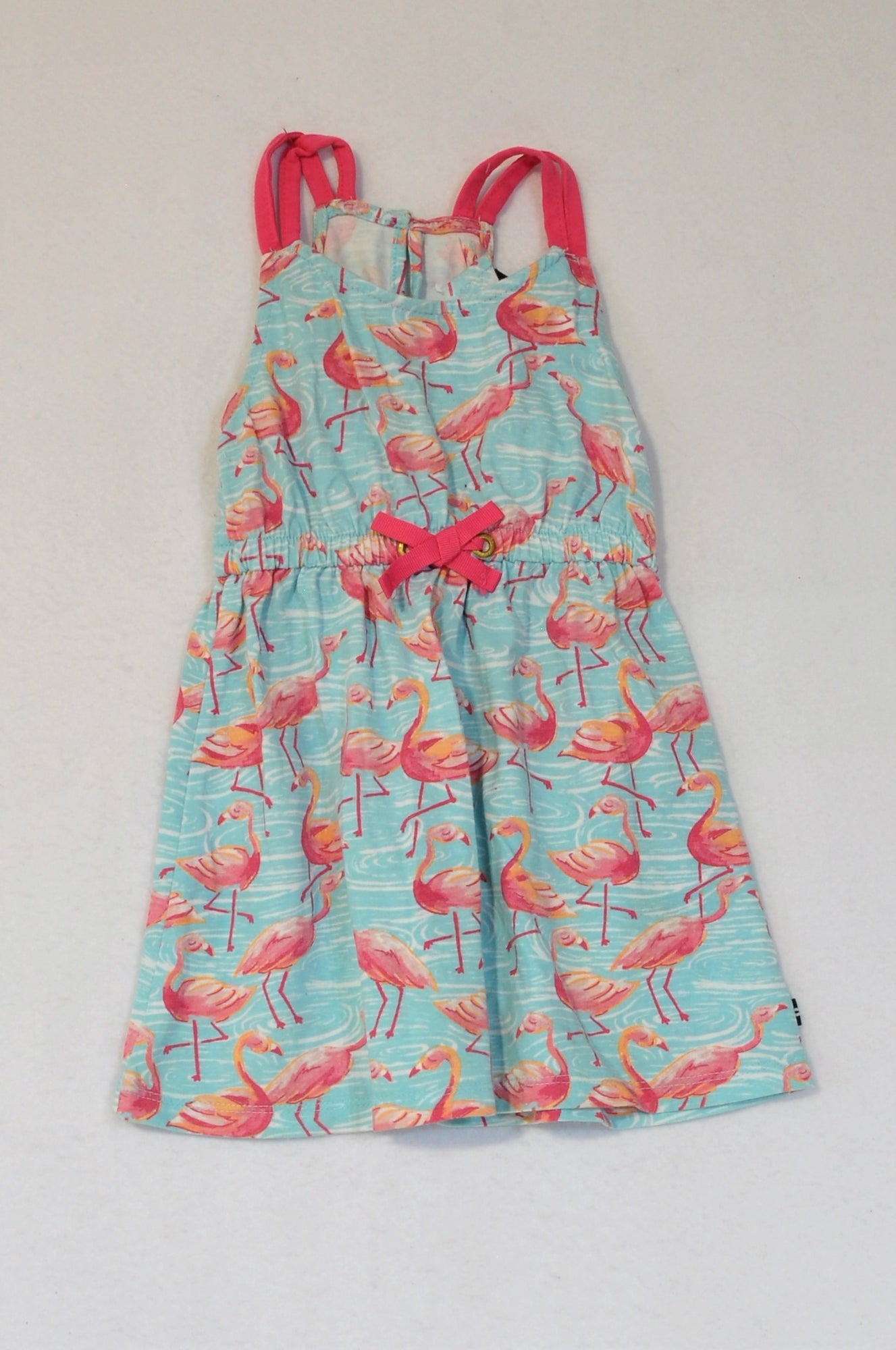 Nautica Blue & Pink Flamingo Summer Dress Girls 1-2 years