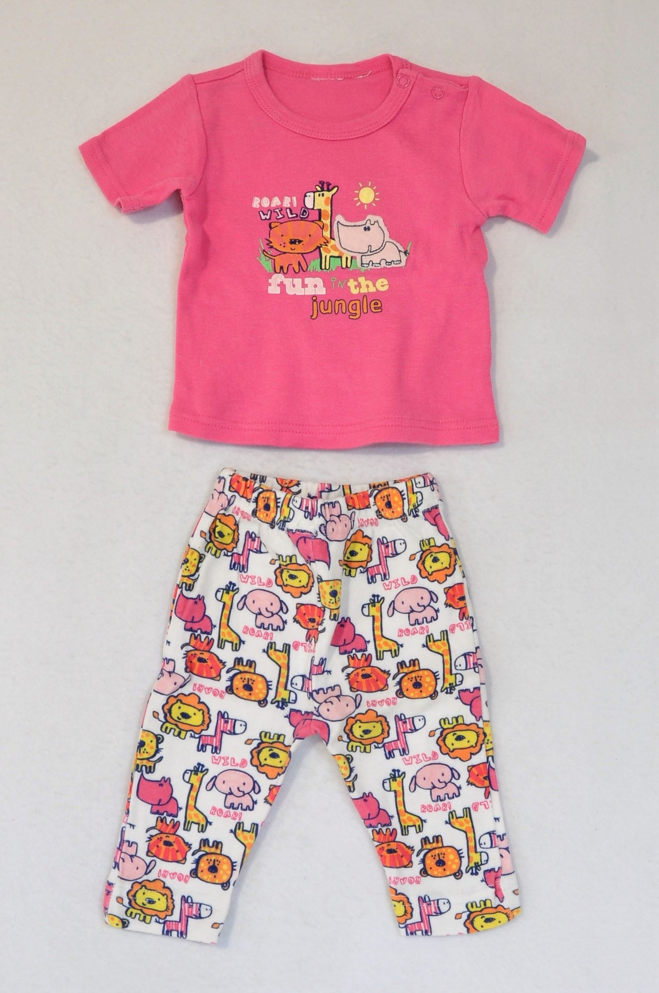 Unbranded Pink Fun In The Jungle T-shirt & White Animal Leggings Outfit Girls 3-6 months