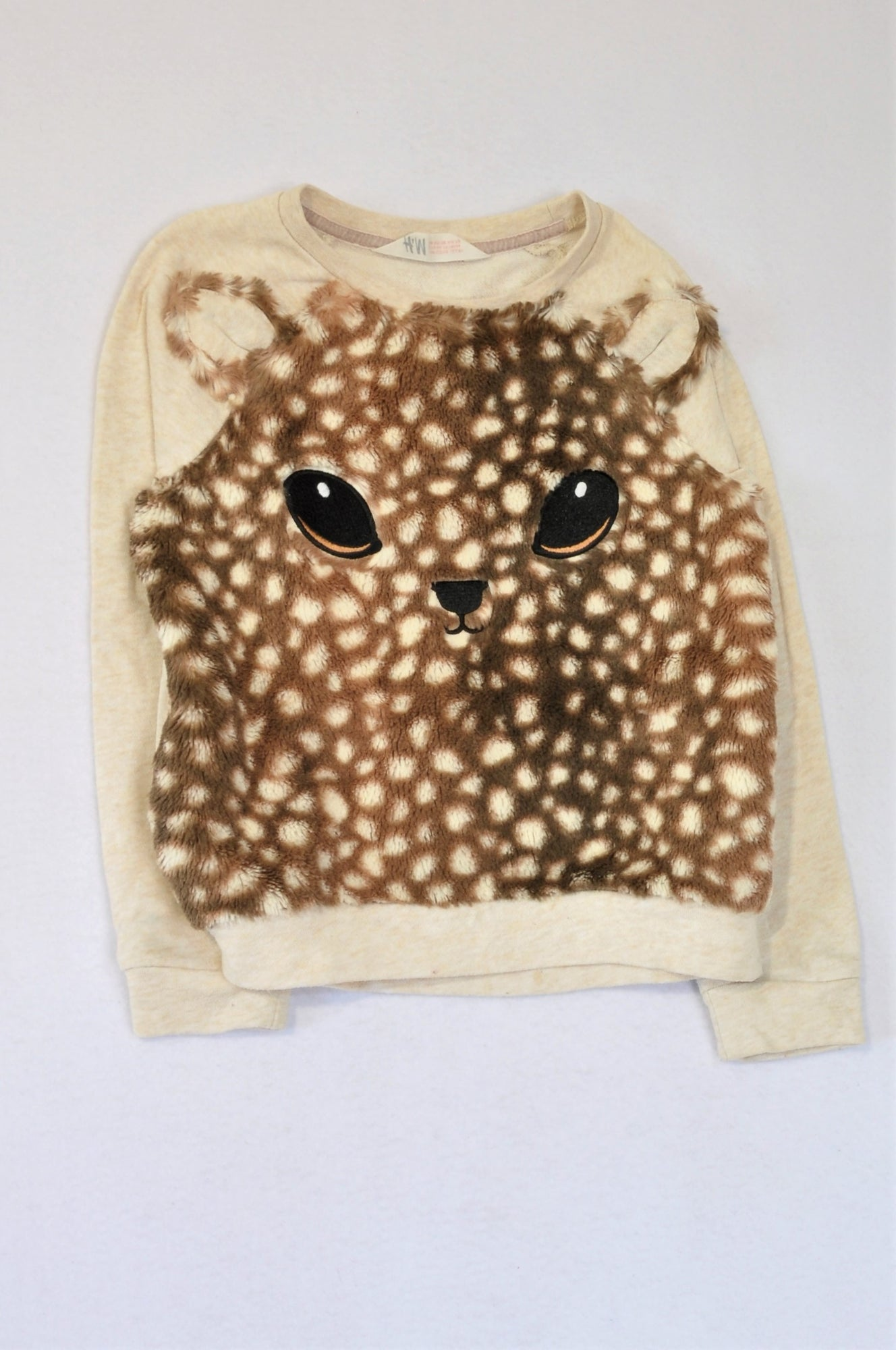 H&M Beige & Brown Fleece Deer Pull Over Top Girls 6-8 years