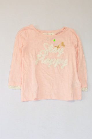 H&M Pink White & Gold Stay Happy Long Sleeve T-shirt Girls 4-6 years