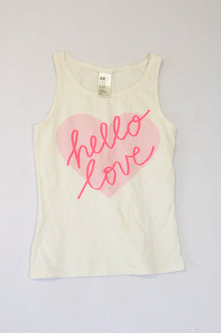 H&M White & Pink Heart Hello Love T-shirt Girls 12-13 years