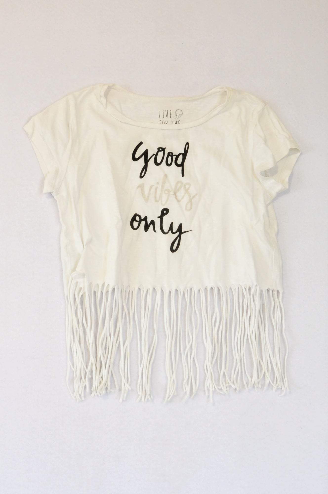 Woolworths White & Black Tassel Good Vibes Only T-shirt Girls 8-9 years