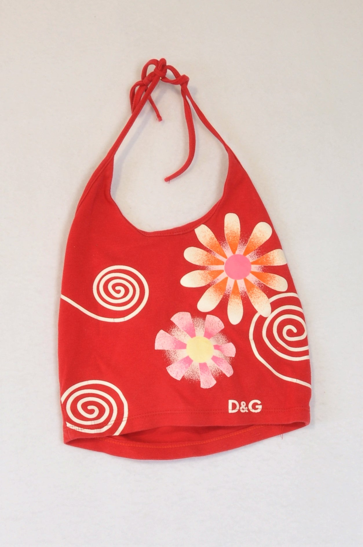 Unbranded Red & White Spiral Flower Halterneck Top Girls 4-5 years