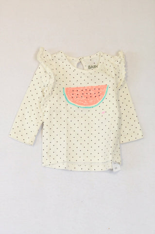 Cotton On White & Black Dotty Frill Long Sleeve Watermelon T-shirt Girls 6-12 months