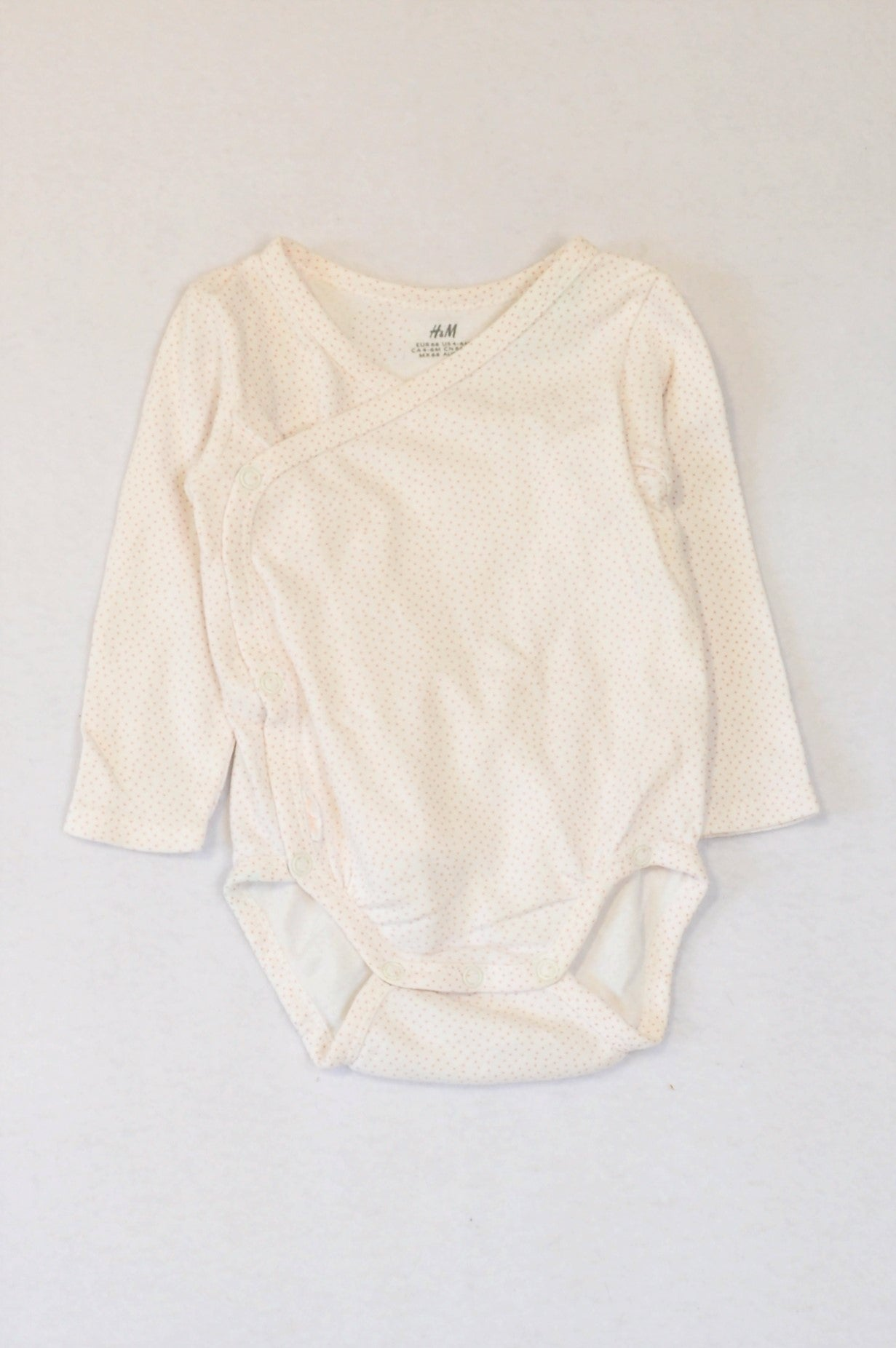 H&M White & Dusty Pink Dotty Long Sleeve Baby Grow Girls 3-6 months