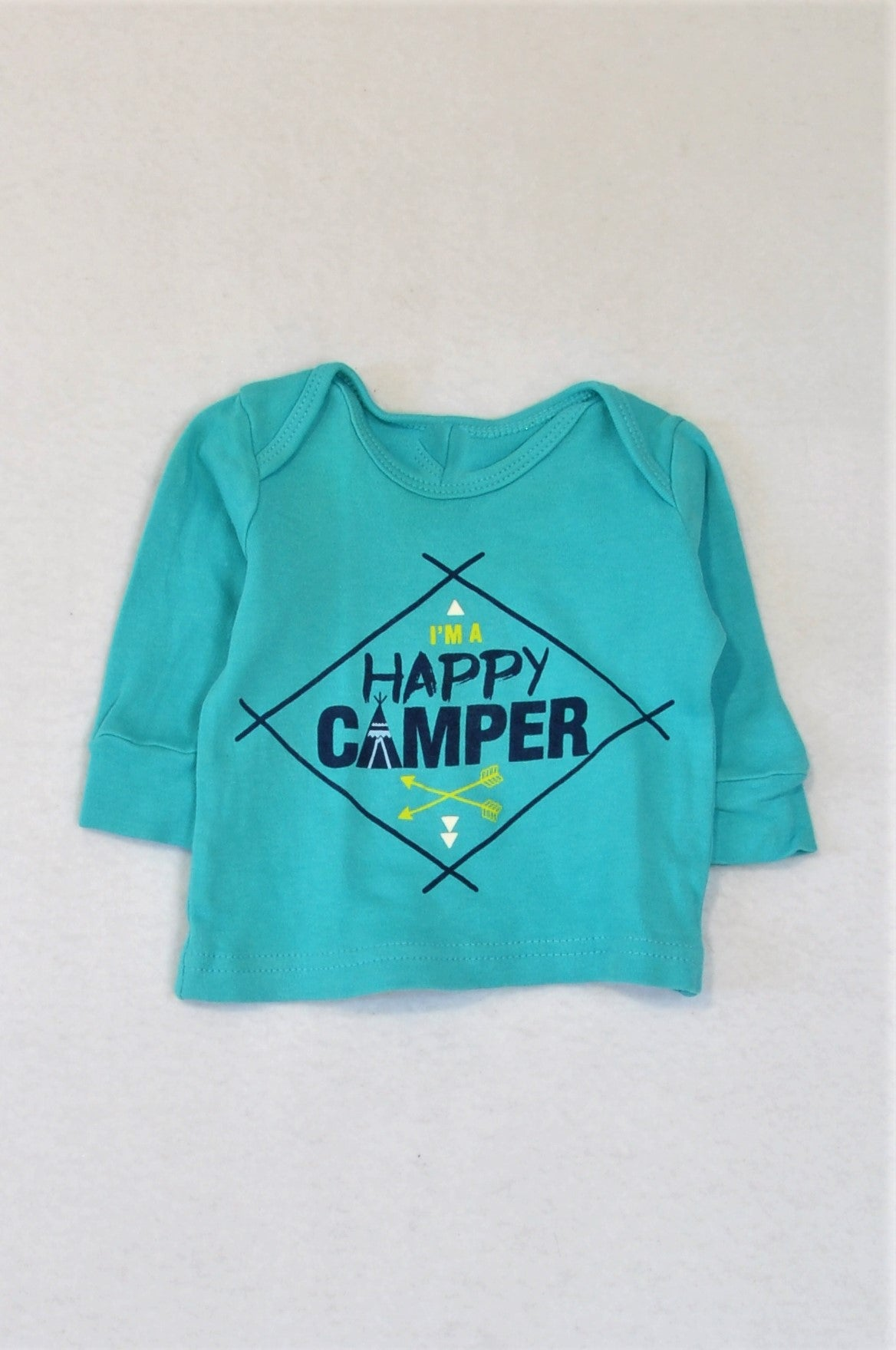 Woolworths Turquoise I'm A Happy Camper Long Sleeve T-shirt Boys 0-3 months