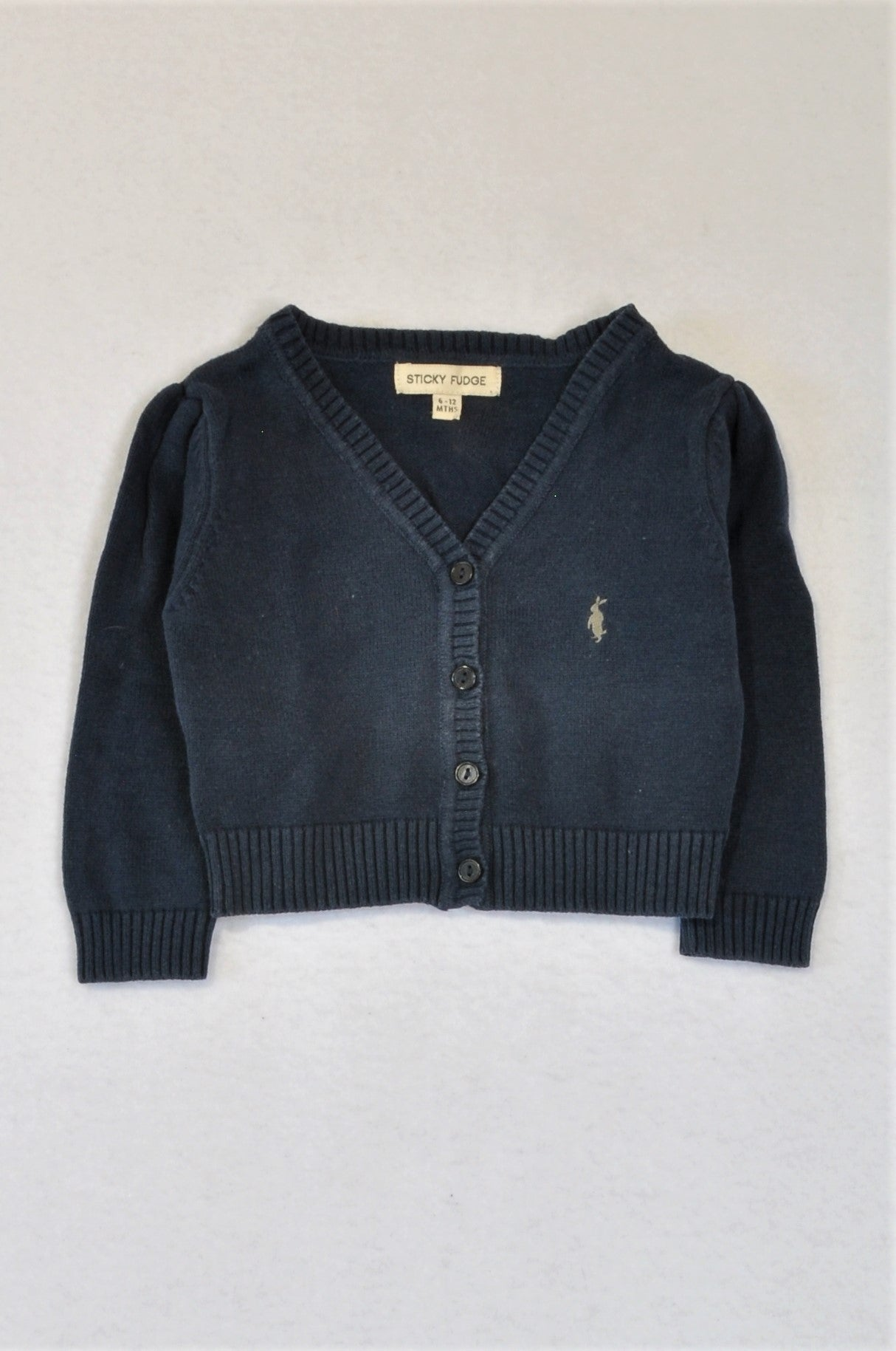 Sticky Fudge Navy Blue Knit Cardigan Unisex 6-12 months