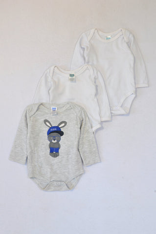 Ackermans 3 Pack White & Grey Heathered Long Sleeve Baby Grows Unisex 0-3 months