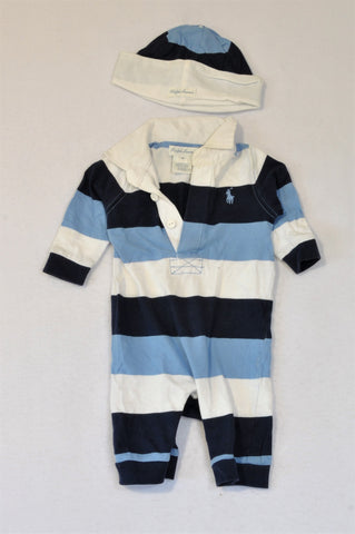 Ralph Lauren Navy, Light Blue & White Broad Stripe Collared Romper & Beanie Outfit Boys 0-3 months