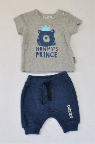 Keedo Grey Heathered Blue Bear Mommy's Prince T-shirt & Navy Pants Outfit Boys 0-3 months