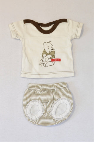 Woolworths White & Brown Trim Pooh Bear T-shirt & Beige & White Stripe Bloomers Outfit Unisex N-B