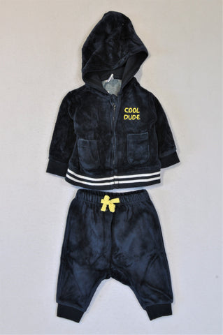 Ackermans Navy Corduroy Cool Dude Hoodie & Tracksuit Pants Outfit Boys 0-3 months