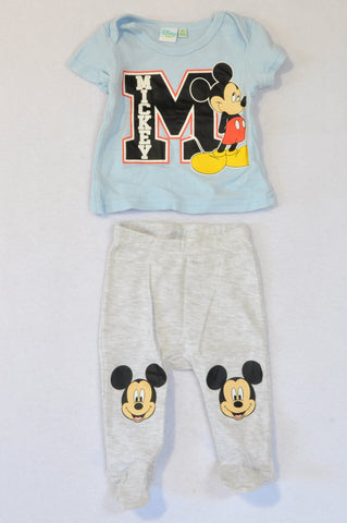 Disney Light Blue Mickey Mouse T-shirt & Grey Heathered Mickey Mouse Footed Leggings Outfit Boys 0-3 months