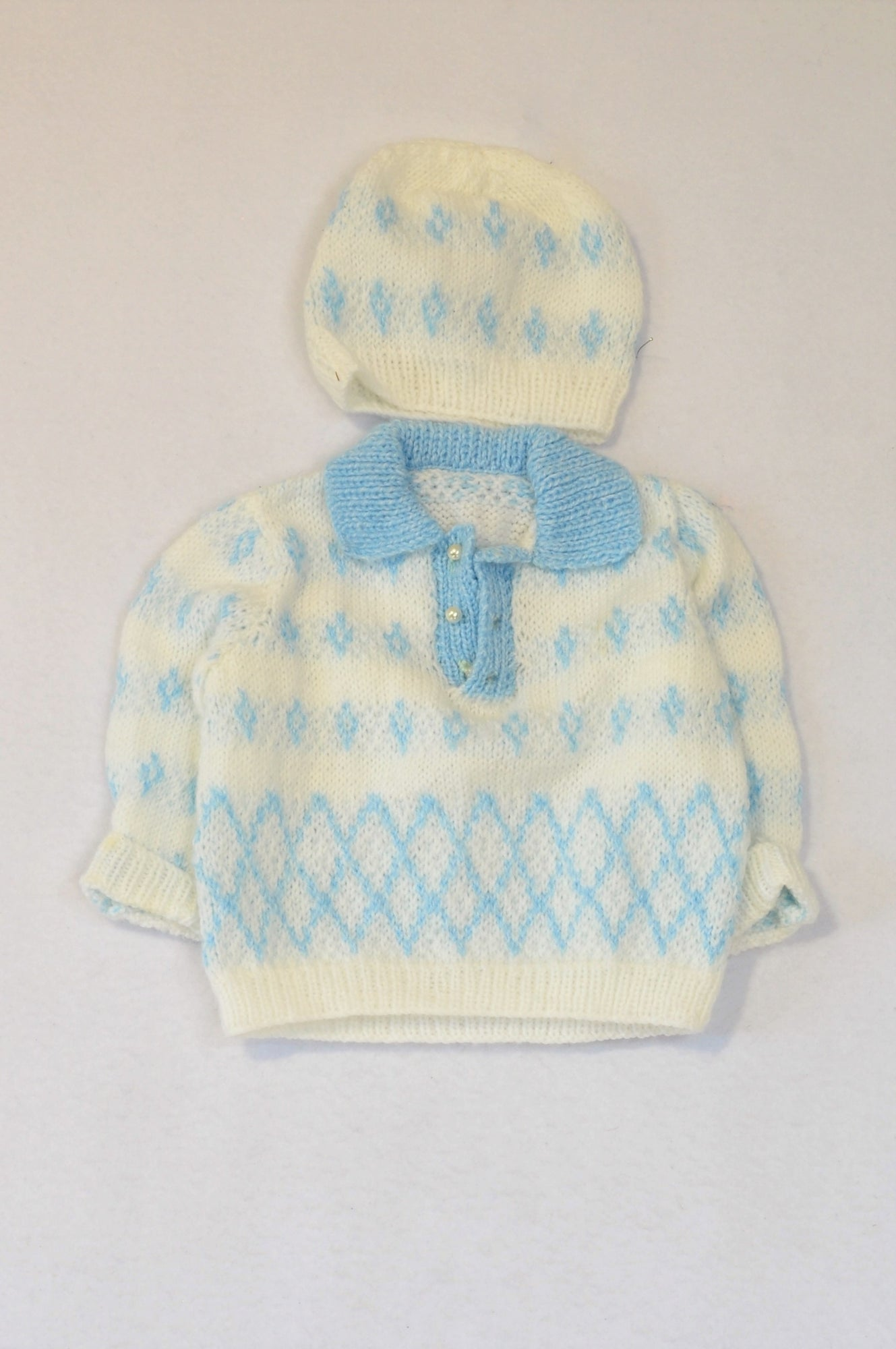 Unbranded White & Blue Knitted Beanie & Jersey Unisex 3-6 months