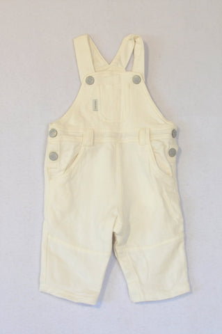 Earthchild Off White Organic Cotton Pocket Snap Dungarees Unisex 0-3 months