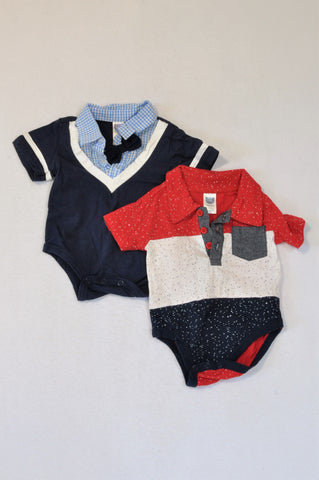 Ackermans 2 Pack Navy & White Stripe Bow Shirt & Red & Navy Speckled Collared Baby Grows Boys 0-3 months