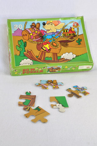 Unbranded Puppy Cowboy 20 Piece Puzzle Unisex 2-6 years