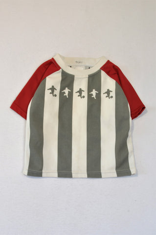 Little Kickers Football Club Grey & White Striped Red Trim T-shirt Unisex 2-3 years