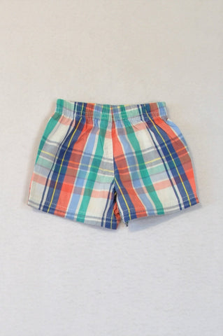 Carter's Blue & Orange Plaid Shorts Boys 0-3 months