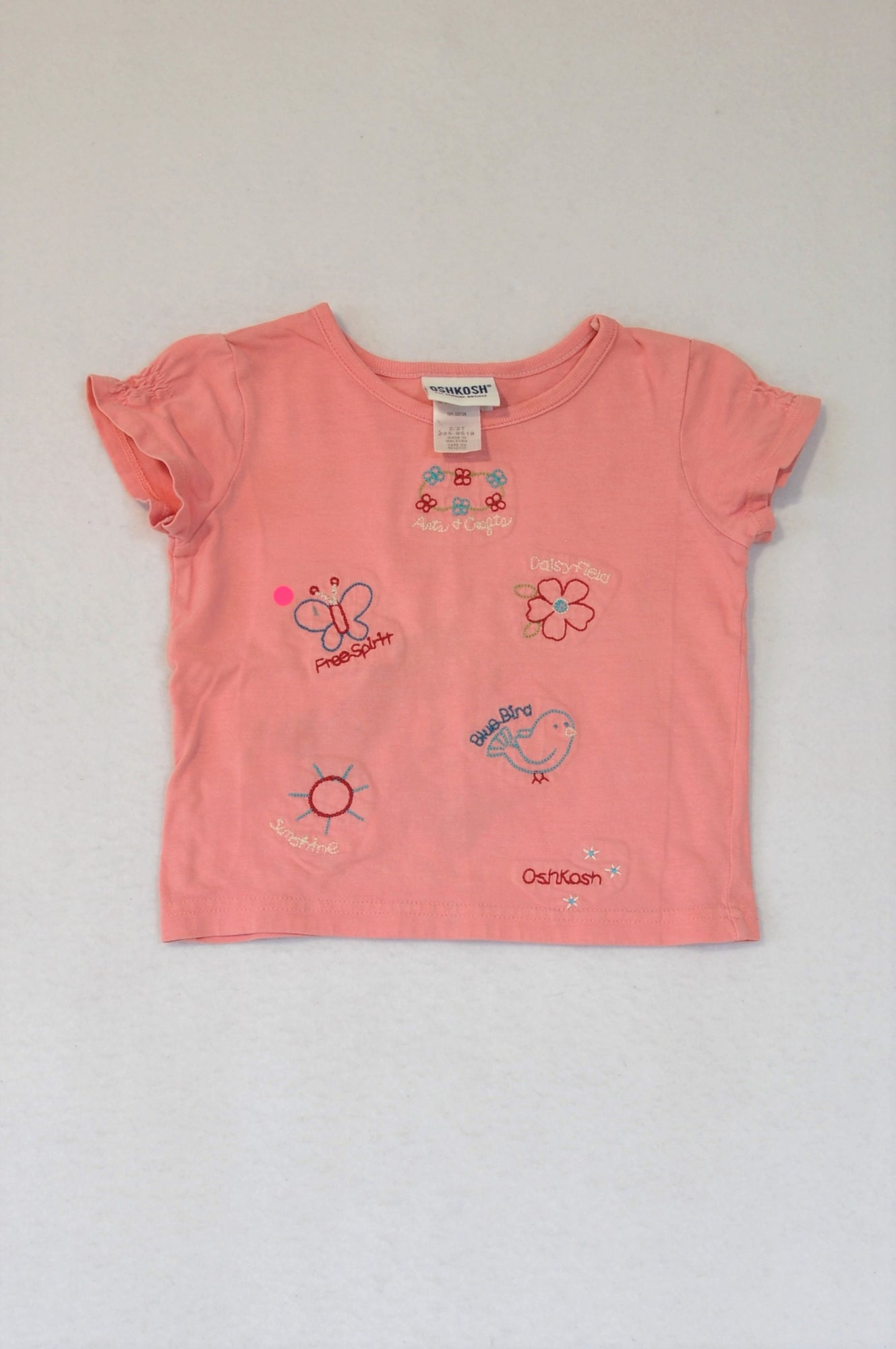 OshKosh Dusty Pink Embroidered T-shirt Girls 1-2 years