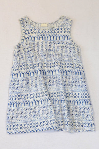 H&M Blue & White Watercolour Pattern Dress Girls 12-18 months