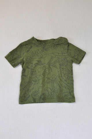 Woolworths Olive Green Tropical Snap T-shirt Boys 18-24 months