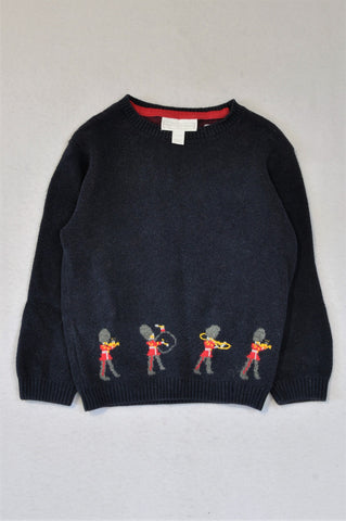 The Little White Company Navy Marching Band Trim Knitted Jersey Boys 2-3 years