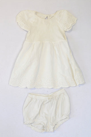 H&M White Lightweight Eyelet Trim Dress & Frill Bloomers Outfit Girls 12-18 months