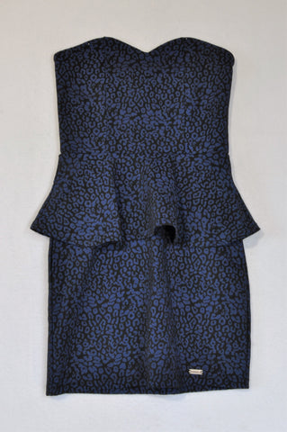 Kangol Black & Royal Blue Leopard Print Cocktail Dress Women Size 8