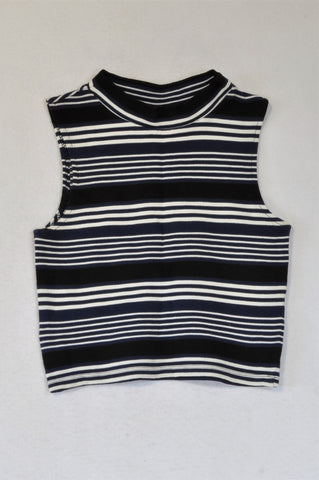 H&M Black, White & Navy Stripe, Ribbed Crop Top Women Size S