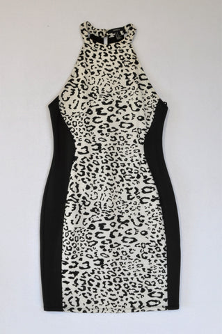 Forever 21 Black & White Leopard Print High Neck Dress Women Size M