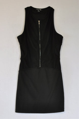 Forever 21 Black Mesh Detail Front Zip Dress Women Size M