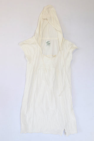 Zara Off White Lightweight Hooded Tunic T-shirt Women Size M