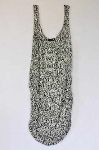 Cotton On Black & White Damask Ruched Dress Women Size S