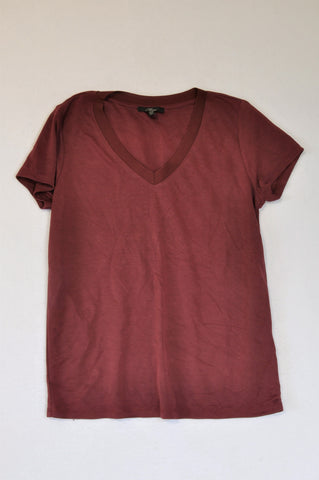 Mavi Maroon V-neck Loose Fit T-shirt Women Size S