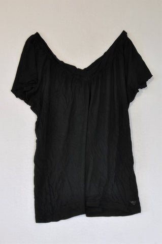 Esprit Black Frill Trim V-neck T-shirt Women Size M