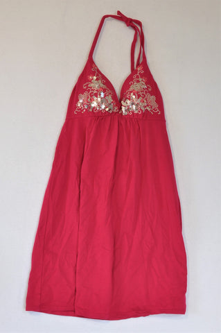 Victoria's Secret Fuschia & Silver Sparkle Halter Neck Dress Women Size M