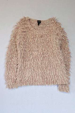 Cotton On Dusty Pink & White Shaggy Rope Knit Jersey Women Size 8