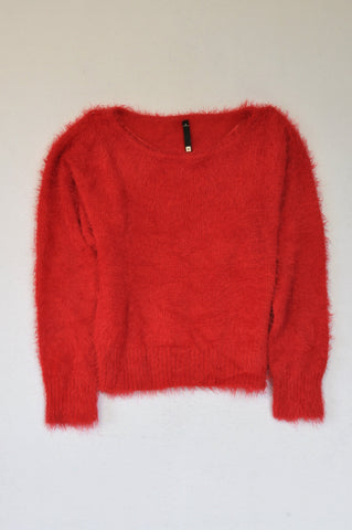 Woolworths Red Fuzzy Knit Pull Over Top Women Size S