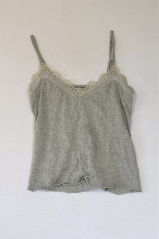 Woolworths Grey Heathered Crinkled Lace Trim Strap Top Women Size 10