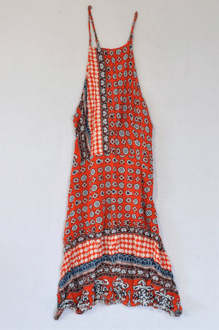 Selfservice Tangerine, White and Navy Aztec Cross Back Strap Dress Women Size S