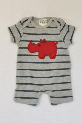 Keedo Grey Striped Red Rhino Romper Boys 0-3 months
