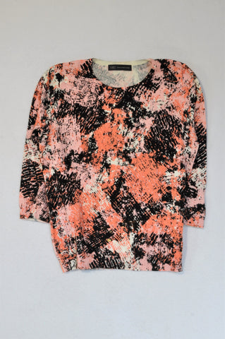 Marks & Spencers Black & Orange Abstract 3/4 Sleeve Jumper Top Women Size 10