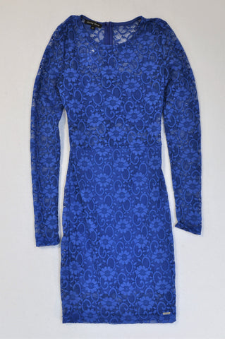 Sissy Boy Cobalt Long Sleeve Lace Dress Women Size XS