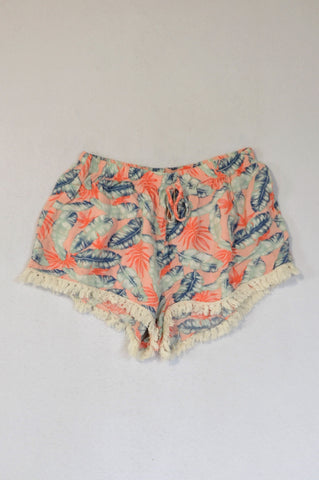 Mr. Price Peach Blue Feather Pink Flower White Tassel Trim Shorts Women Size 6