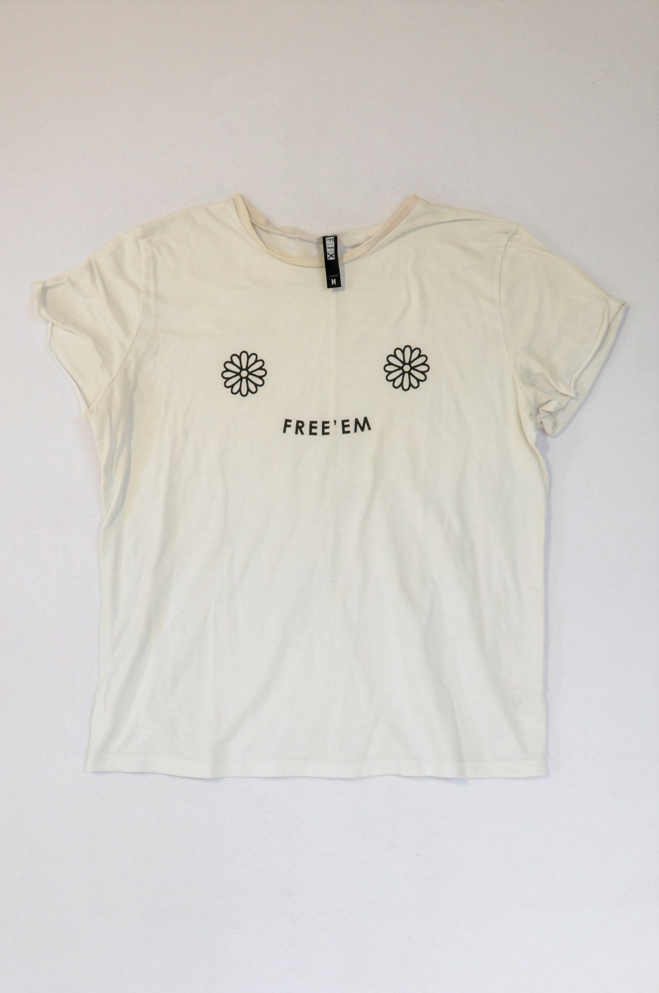 The Fix White Daisy Free'em T-shirt Women Size M